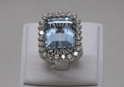 20th century - White gold ring Aquamarine and diamonds