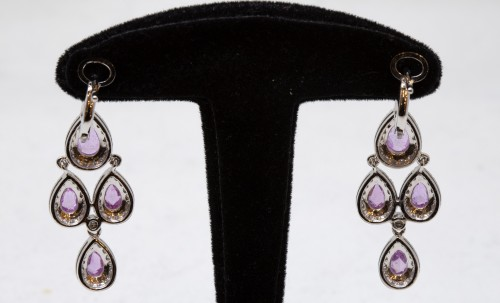 Pair of gold pendants, Sapphires and diamonds - Antique Jewellery Style
