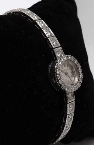 "Platinum watch brand "" Roy Watch"" set with TA diamonds - Antique Jewellery Style"