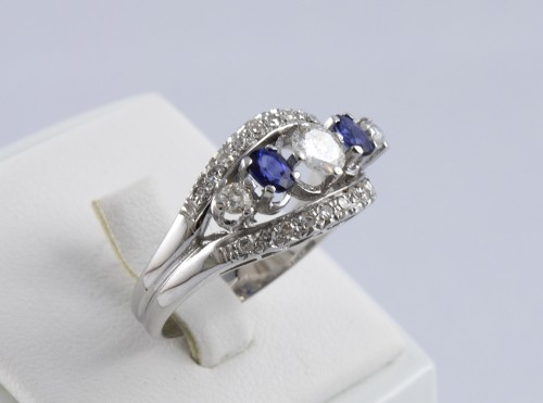 Ring in 18K Gold, diamonds and sapphire - Antique Jewellery Style Art nouveau
