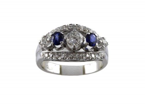 20th century - Ring in 18K Gold, diamonds and sapphire