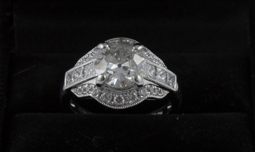20th century - Ring in 18K white gold and diamonds