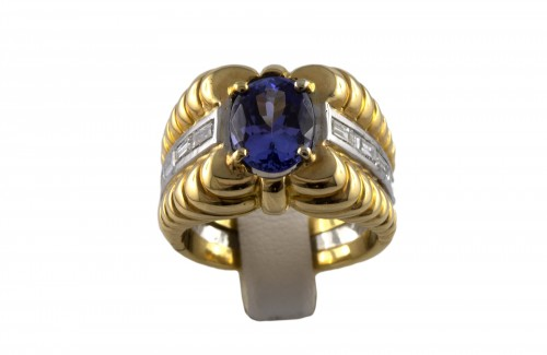 18K Gold, Platinum, Tanzanite and Diamond Ring