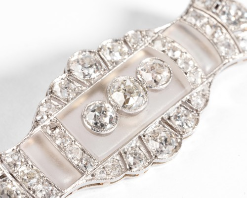 Platinum and rock crystal art-deco brooch, set with diamonds - Antique Jewellery Style Art Déco
