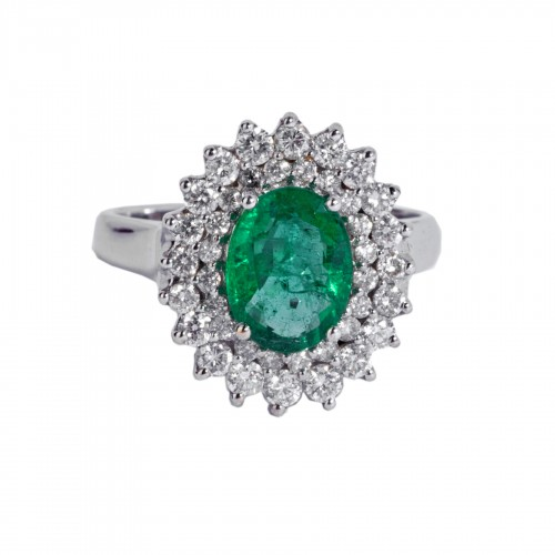 Anglais  18k white gold ring set with an emerald and small diamonds
