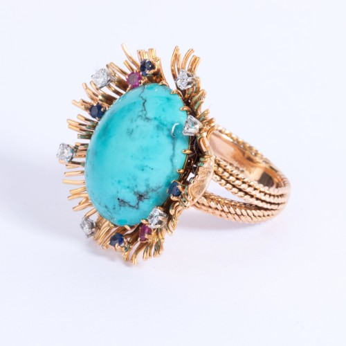 Gold ring set in its center with turquoise and small diamonds and sapph - Antique Jewellery Style 50