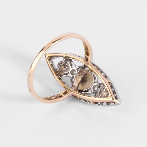 Marquise ring in gold and platinum set with fine pearls and small diamonds -