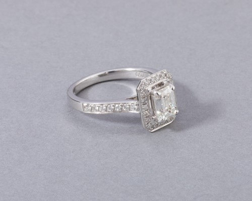 Antique Jewellery  - 18k white gold ring set with a diamond