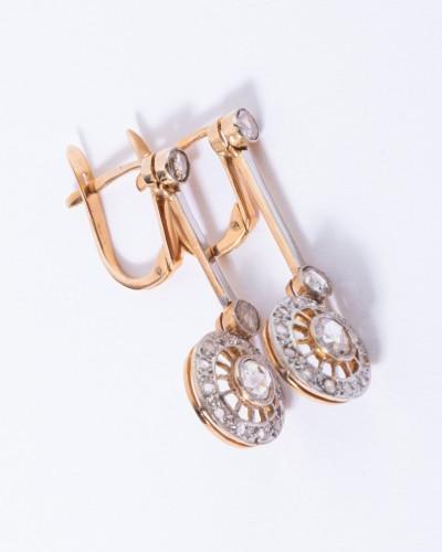 18k gold drop earrings set with a diamond - Art nouveau