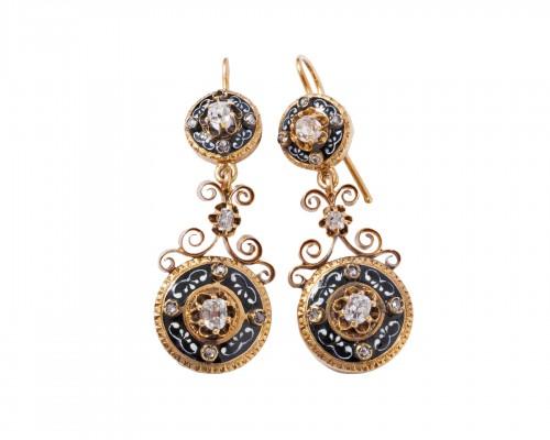 Enamelled 18k gold earrings, set with small diamonds