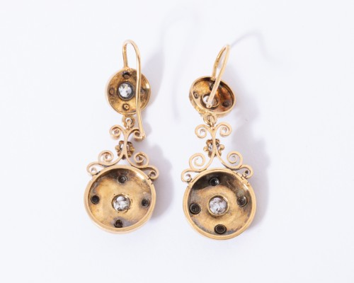 Enamelled 18k gold earrings, set with small diamonds - Antique Jewellery Style Art nouveau