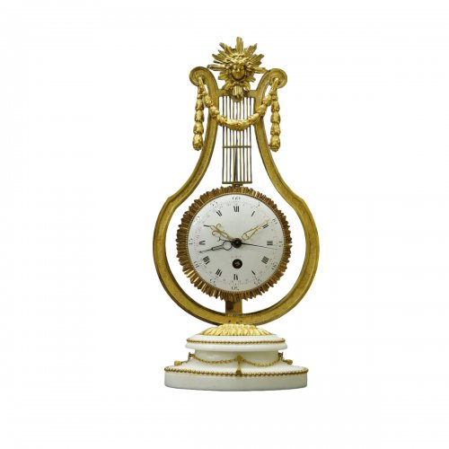 French Louis XVI Ormolu and Marble Lyre Mantel Timepiece