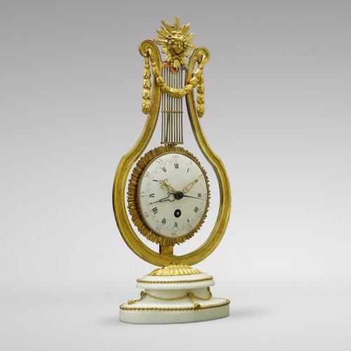 French Louis XVI Ormolu and Marble Lyre Mantel Timepiece - Clocks Style Louis XVI