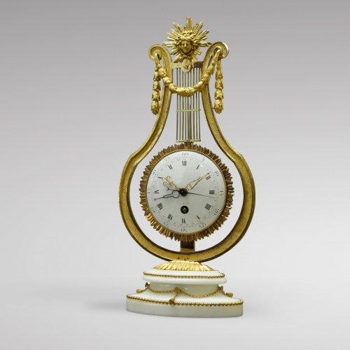 Clocks  - French Louis XVI Ormolu and Marble Lyre Mantel Timepiece
