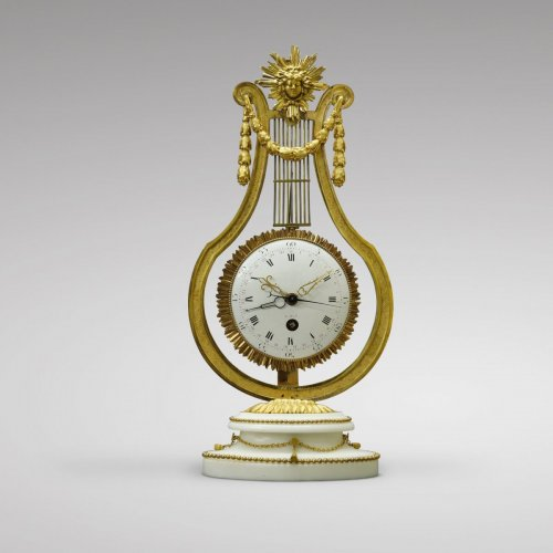 French Louis XVI Ormolu and Marble Lyre Mantel Timepiece - Louis XVI