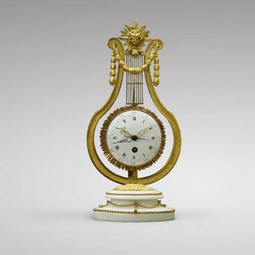 French Louis XVI Ormolu and Marble Lyre Mantel Timepiece - Louis XVI
