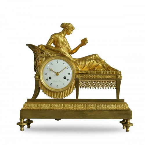 "French Empire-period mantel clock ""the Reader"""
