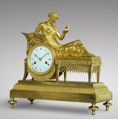 "French Empire-period mantel clock ""the Reader"" - Clocks Style Empire"
