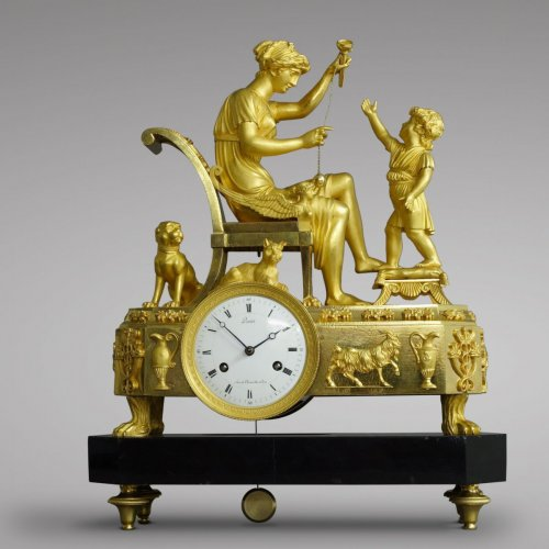 "Empire - French Empire-period mantel clock ""The Cup-and-Ball Lesson"""