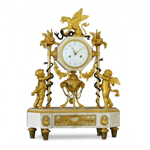 French Louis XVI marble and ormolu clock