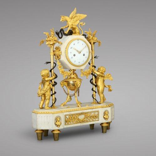 French Louis XVI marble and ormolu clock - Clocks Style Louis XVI