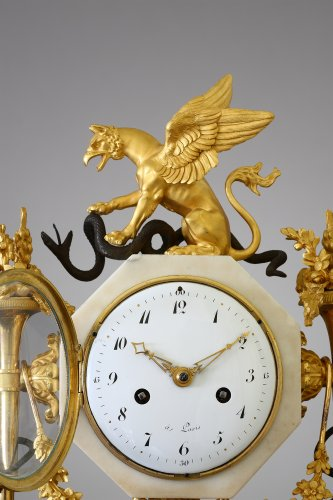 Clocks  - French Louis XVI marble and ormolu clock
