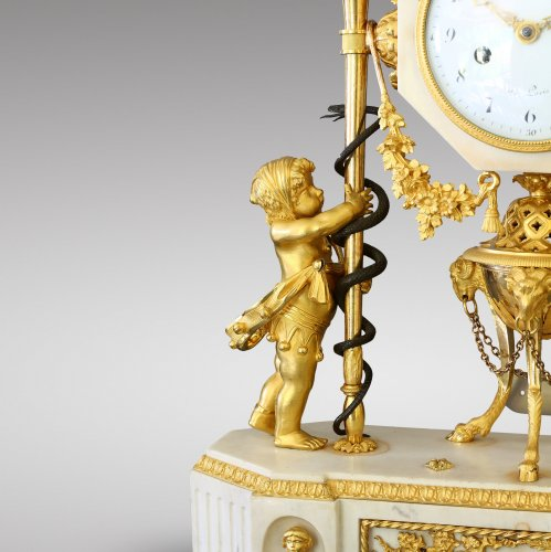 French Louis XVI marble and ormolu clock -
