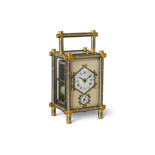 Carriage Clock with Bamboo-Style case