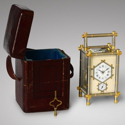 19th century - Carriage Clock with Bamboo-Style case