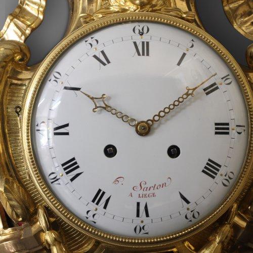 Louis XVI - French Wall Cartel Clock by Hubert Sarton