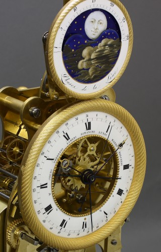Antiquités - Astronomical Skeleton Clock with Quarter-Strike on Three Bells