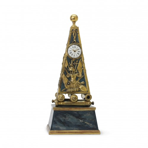 Early French Louis XV Obelisk Clock with Military Attributes