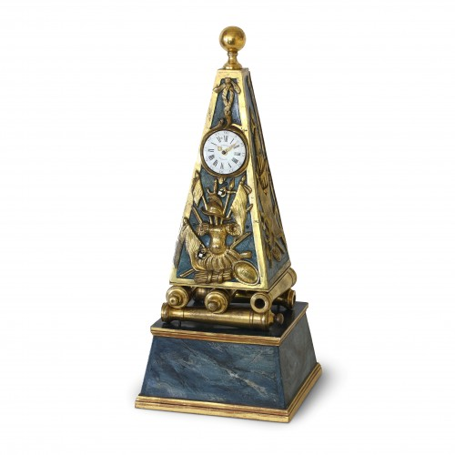 Early French Louis XV Obelisk Clock with Military Attributes - Horology Style Louis XV
