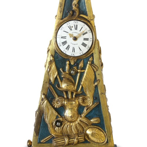 Clocks  - Early French Louis XV Obelisk Clock with Military Attributes