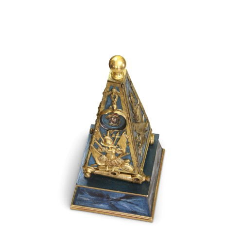 18th century - Early French Louis XV Obelisk Clock with Military Attributes
