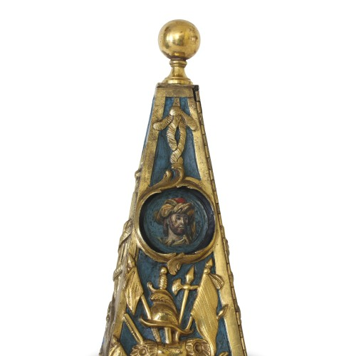 Early French Louis XV Obelisk Clock with Military Attributes - Louis XV