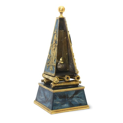 Louis XV - Early French Louis XV Obelisk Clock with Military Attributes