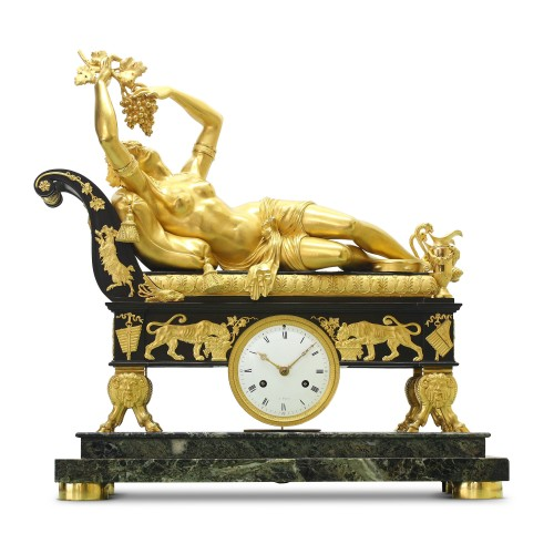 "Erigone seduced by Bacchus"", or ""Reclining Bacchante"" by Claude Galle - Clocks Style Empire"
