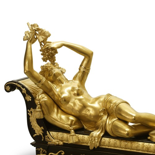 "19th century - Erigone seduced by Bacchus"", or ""Reclining Bacchante"" by Claude Galle"