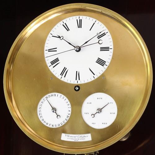 Precision calendar floor-standing regulator with experimental pendulum -