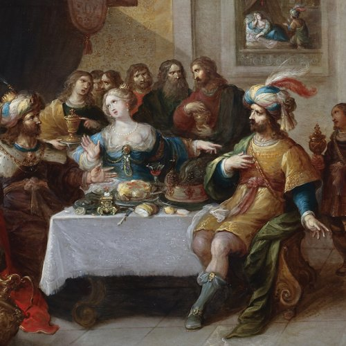 17th century - Ahasuerus and Haman at the Banquet of Esther