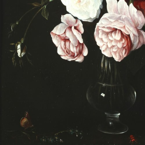 Paintings & Drawings  - A bouquet of tulips and roses in a glass vase