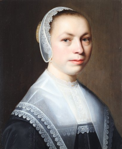 Portrait of a woman with a lace white cap - Dutch school 17th century