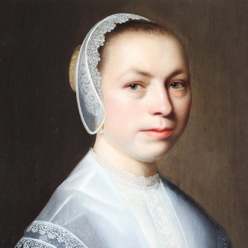 Portrait of a woman with a lace white cap - Dutch school 17th century - Paintings & Drawings Style