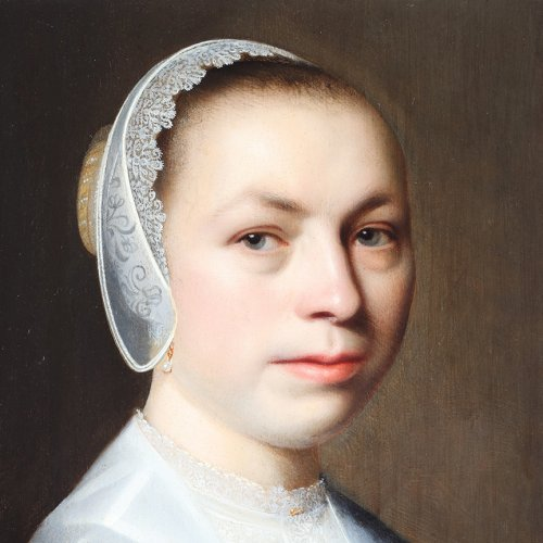 Paintings & Drawings  - Portrait of a woman with a lace white cap - Dutch school 17th century
