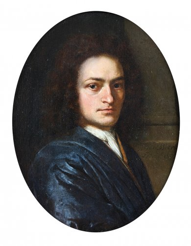 Paintings & Drawings  - Portrait of a gentleman, bust length, in a blue robe with a white cravat