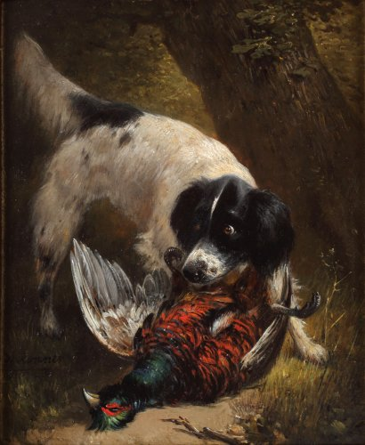 Hunting dog with a pheasant  - Henriëtte Ronner-Knip (1821-1909)