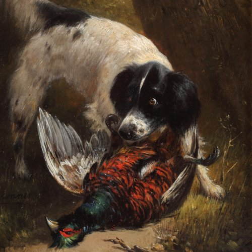 Hunting dog with a pheasant  - Henriëtte Ronner-Knip (1821-1909) - Paintings & Drawings Style