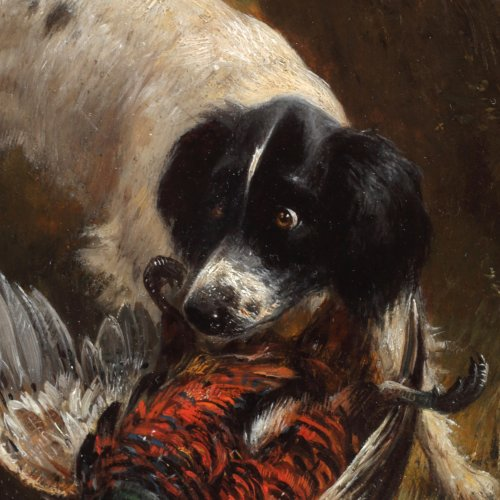Paintings & Drawings  - Hunting dog with a pheasant  - Henriëtte Ronner-Knip (1821-1909)