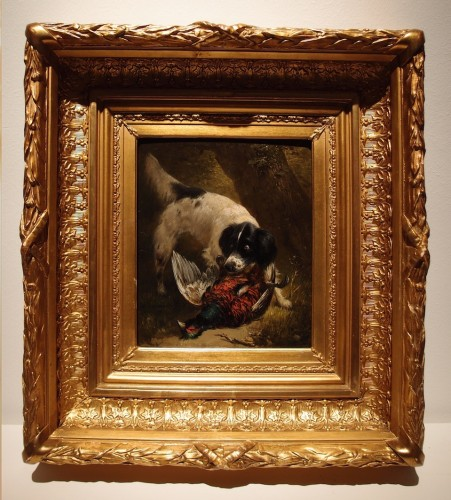Hunting dog with a pheasant  - Henriëtte Ronner-Knip (1821-1909) -